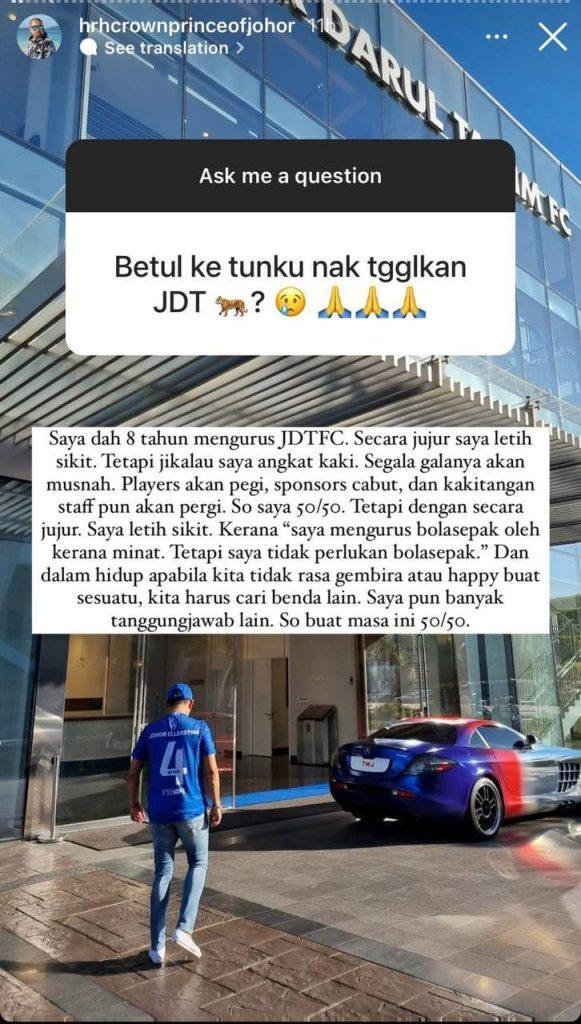 tmj 6 TMJ Pertimbangkan Hasrat Tinggalkan JDT
